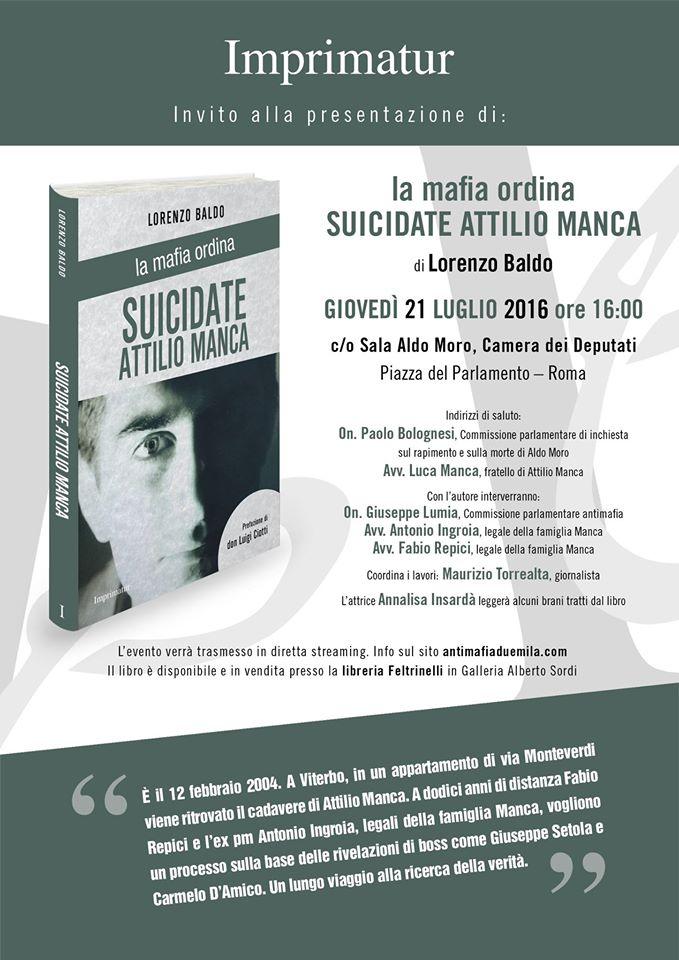 L 39 altra news la mafia ordina suicidate attilio manca for Diretta camera dei deputati streaming